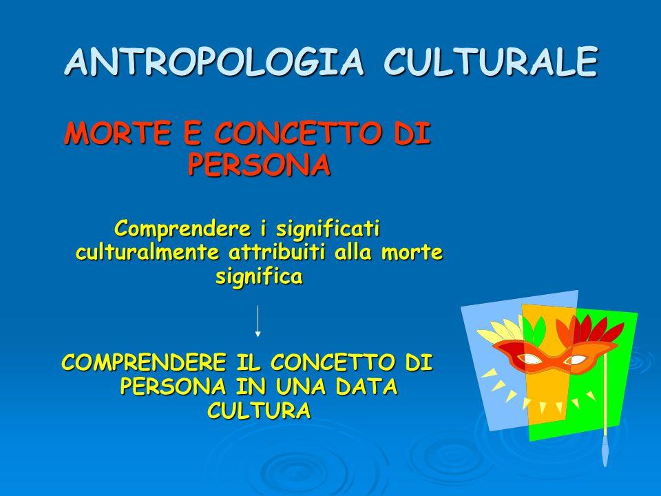 ANTROPOLOGIA CULTURALE MORTE E CONCETTO DI PERSONA Comprendere i significati culturalmente attribuiti alla morte significa COMPRENDERE IL CONCETTO DI PERSONA IN UNA DATA CULTURA