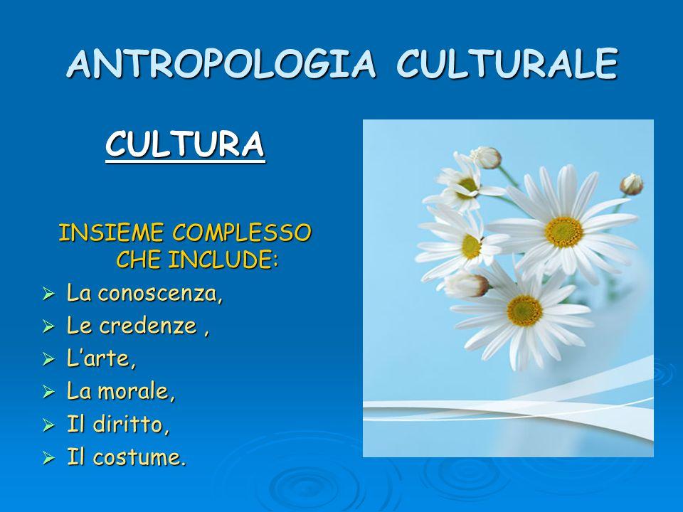 ANTROPOLOGIA CULTURALE CULTURA INSIEME COMPLESSO CHE INCLUDE:  La conoscenza,  Le credenze,  L'arte,  La morale,  Il diritto,  Il costume.