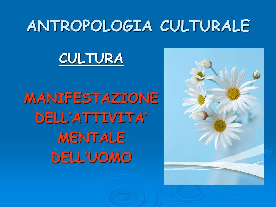 ANTROPOLOGIA CULTURALE CULTURAMANIFESTAZIONEDELL'ATTIVITA'MENTALEDELL'UOMO