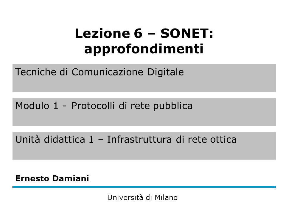 Tecniche di Comunicazione Digitale Modulo 1 -Protocolli di rete pubblica Unità didattica 1 – Infrastruttura di rete ottica Ernesto Damiani Università di Milano Lezione 6 – SONET: approfondimenti