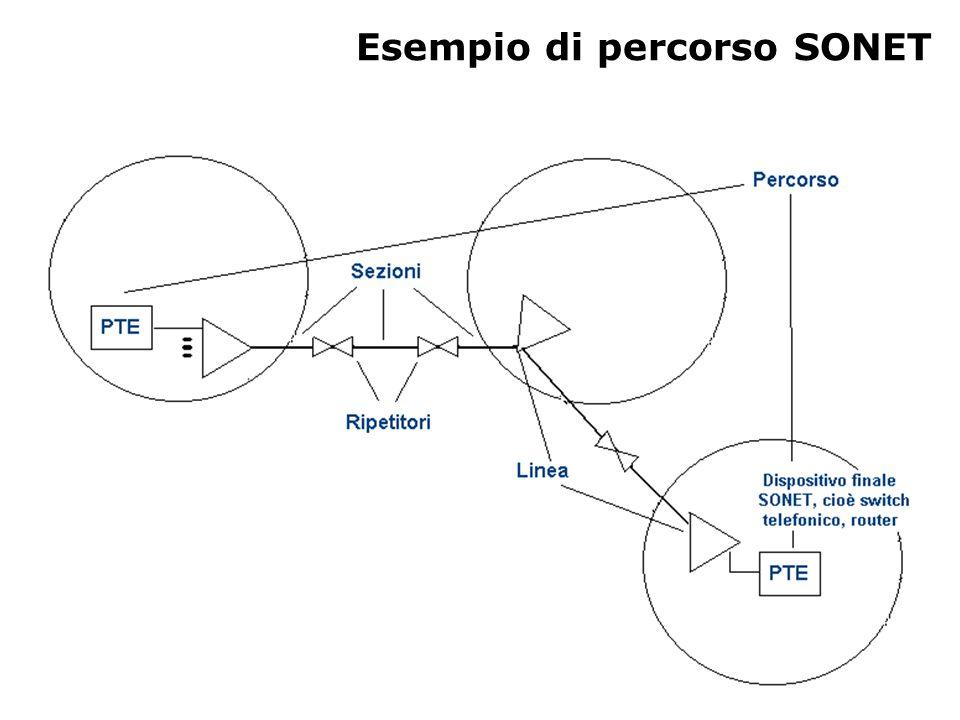 Formato dei frame STS-1 Trasmissione dei frame: –si manda prima la riga più in alto e si prosegue da sinistra a destra –un frame equivale a 810 byte –frame in 125 µs alla velocità di 51,84 mbps –il frame contiene un payload