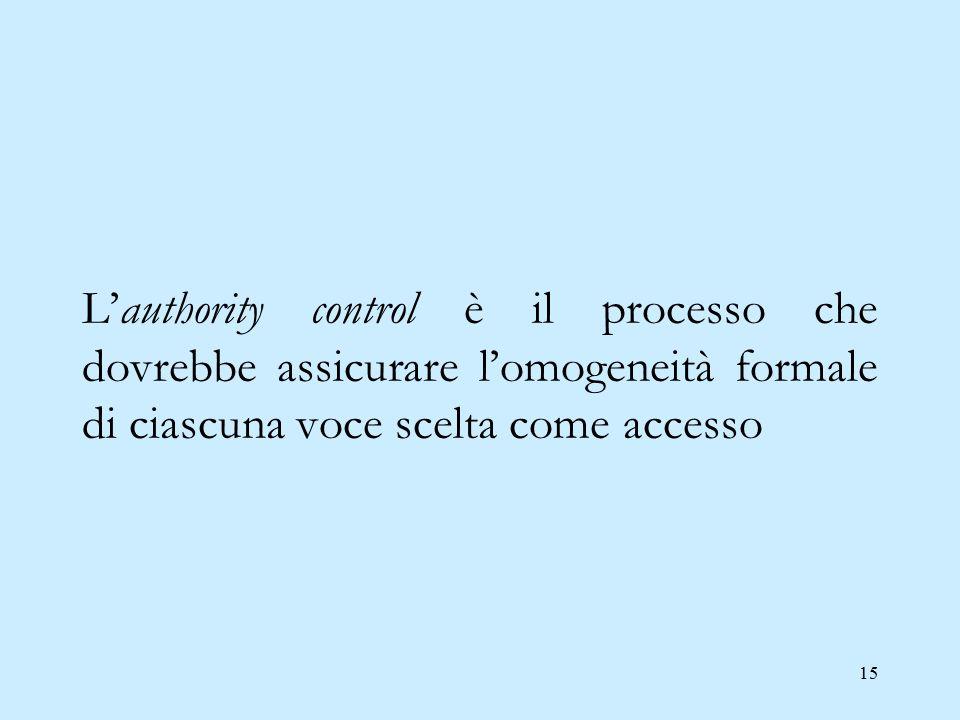 15 L'authority control è il processo che dovrebbe assicurare l'omogeneità formale di ciascuna voce scelta come accesso