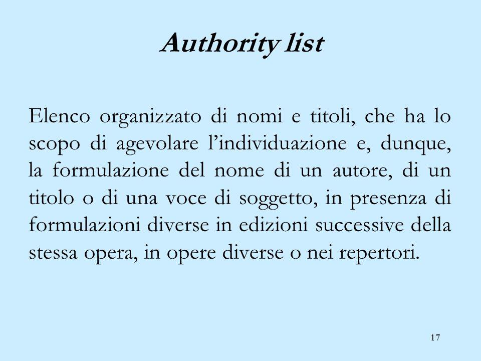17 Authority list Elenco organizzato di nomi e titoli, che ha lo scopo di agevolare l'individuazione e, dunque, la formulazione del nome di un autore,