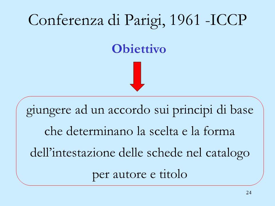 24 Conferenza di Parigi, 1961 -ICCP giungere ad un accordo sui principi di base che determinano la scelta e la forma dell'intestazione delle schede ne