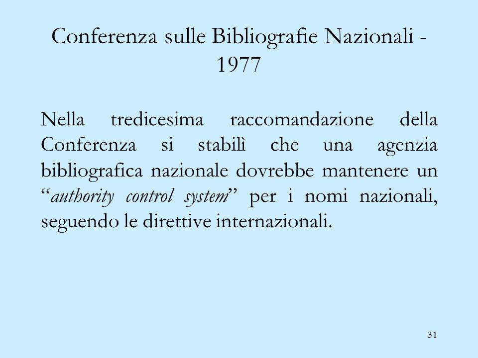 31 Conferenza sulle Bibliografie Nazionali - 1977 Nella tredicesima raccomandazione della Conferenza si stabilì che una agenzia bibliografica nazional