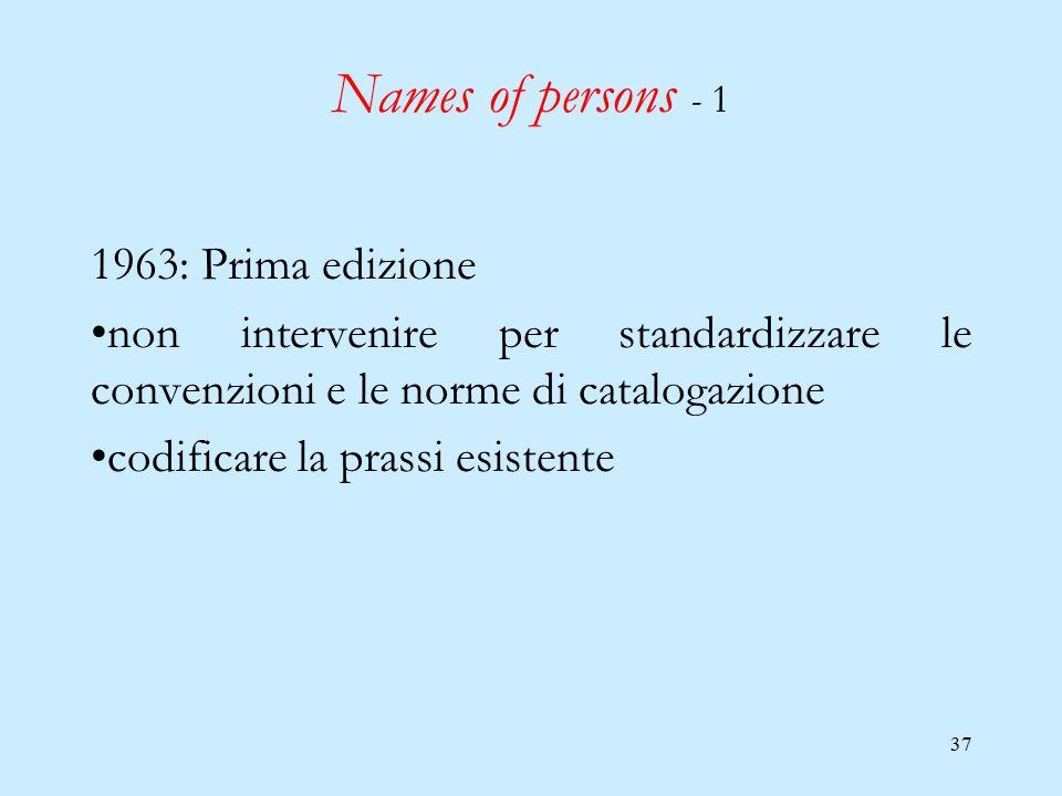 37 Names of persons - 1 1963: Prima edizione non intervenire per standardizzare le convenzioni e le norme di catalogazione codificare la prassi esiste