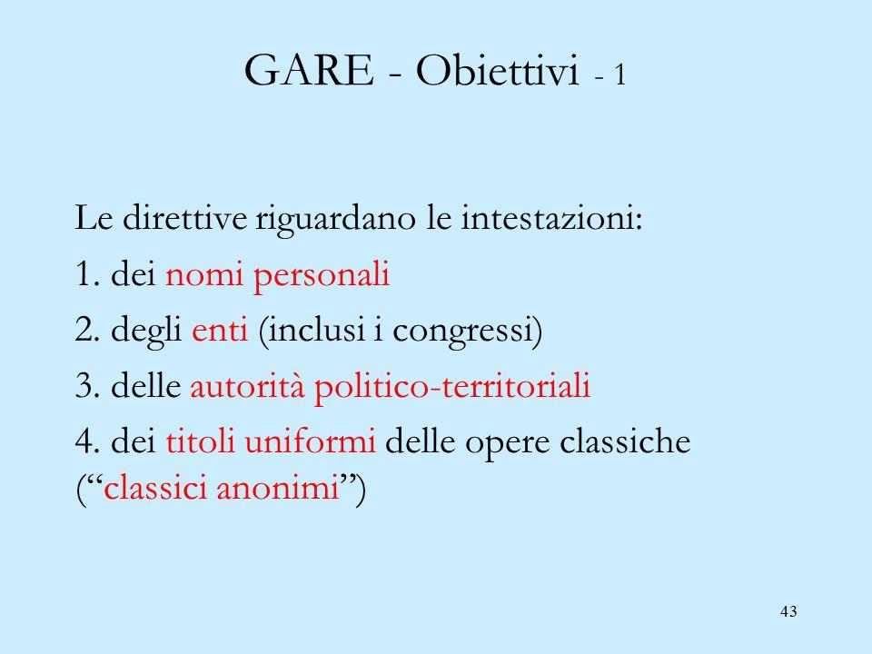 43 GARE - Obiettivi - 1 Le direttive riguardano le intestazioni: 1. dei nomi personali 2. degli enti (inclusi i congressi) 3. delle autorità politico-