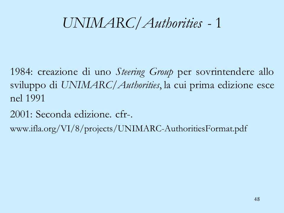 48 UNIMARC/Authorities - 1 1984: creazione di uno Steering Group per sovrintendere allo sviluppo di UNIMARC/Authorities, la cui prima edizione esce ne