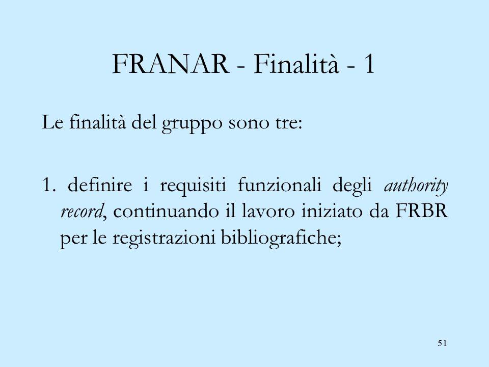 51 FRANAR - Finalità - 1 Le finalità del gruppo sono tre: 1. definire i requisiti funzionali degli authority record, continuando il lavoro iniziato da