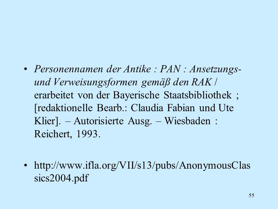55 Personennamen der Antike : PAN : Ansetzungs- und Verweisungsformen gemäß den RAK / erarbeitet von der Bayerische Staatsbibliothek ; [redaktionelle