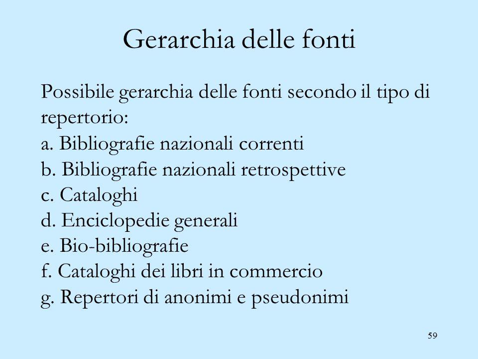 59 Gerarchia delle fonti Possibile gerarchia delle fonti secondo il tipo di repertorio: a. Bibliografie nazionali correnti b. Bibliografie nazionali r
