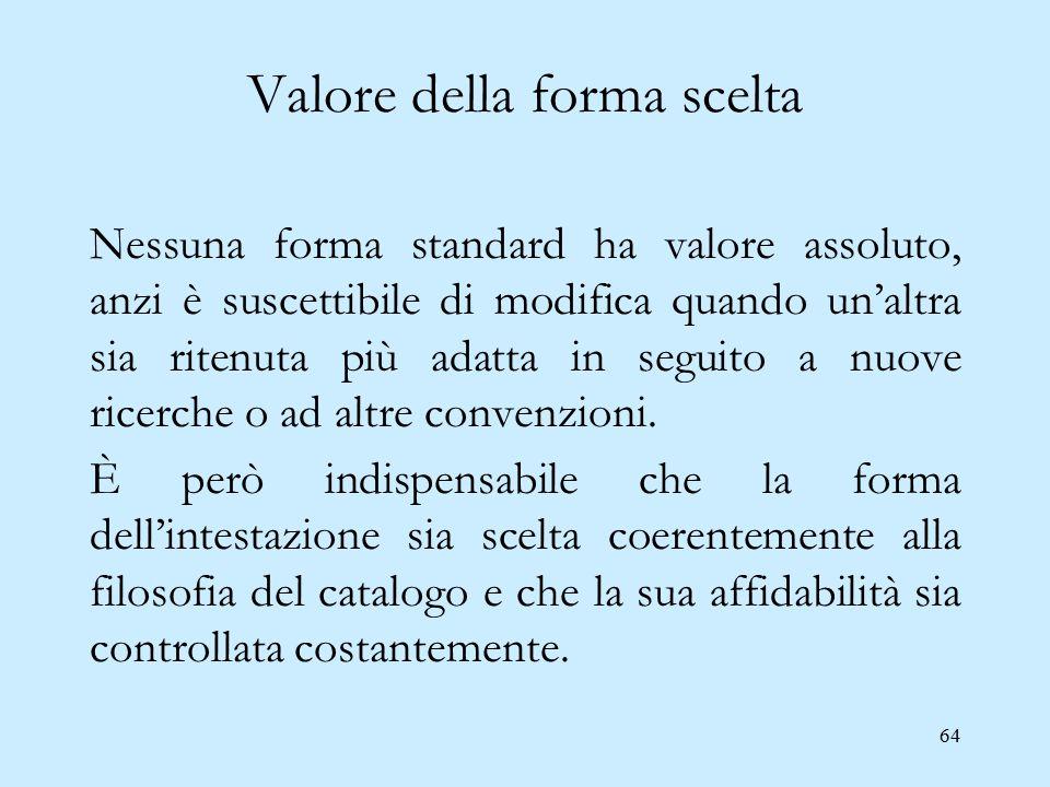 64 Valore della forma scelta Nessuna forma standard ha valore assoluto, anzi è suscettibile di modifica quando un'altra sia ritenuta più adatta in seg