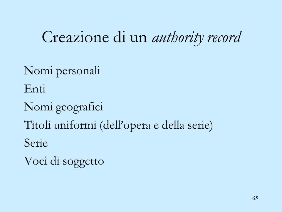 65 Creazione di un authority record Nomi personali Enti Nomi geografici Titoli uniformi (dell'opera e della serie) Serie Voci di soggetto