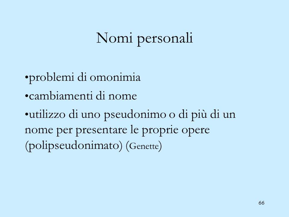 66 Nomi personali problemi di omonimia cambiamenti di nome utilizzo di uno pseudonimo o di più di un nome per presentare le proprie opere (polipseudon