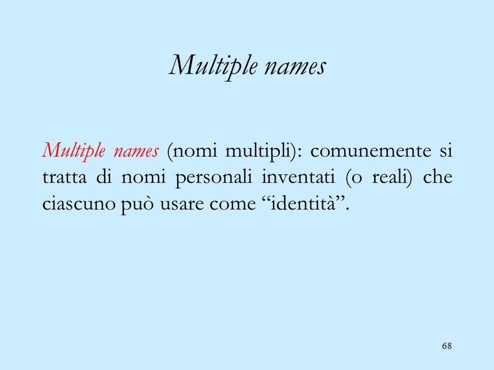 """68 Multiple names Multiple names (nomi multipli): comunemente si tratta di nomi personali inventati (o reali) che ciascuno può usare come """"identità""""."""