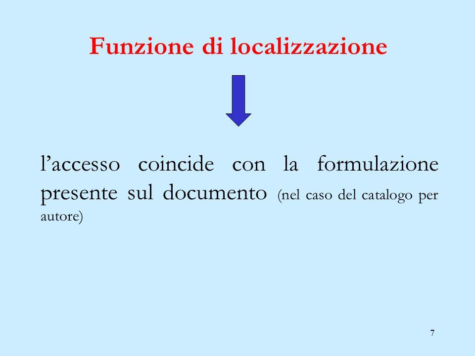 7 l'accesso coincide con la formulazione presente sul documento (nel caso del catalogo per autore) Funzione di localizzazione