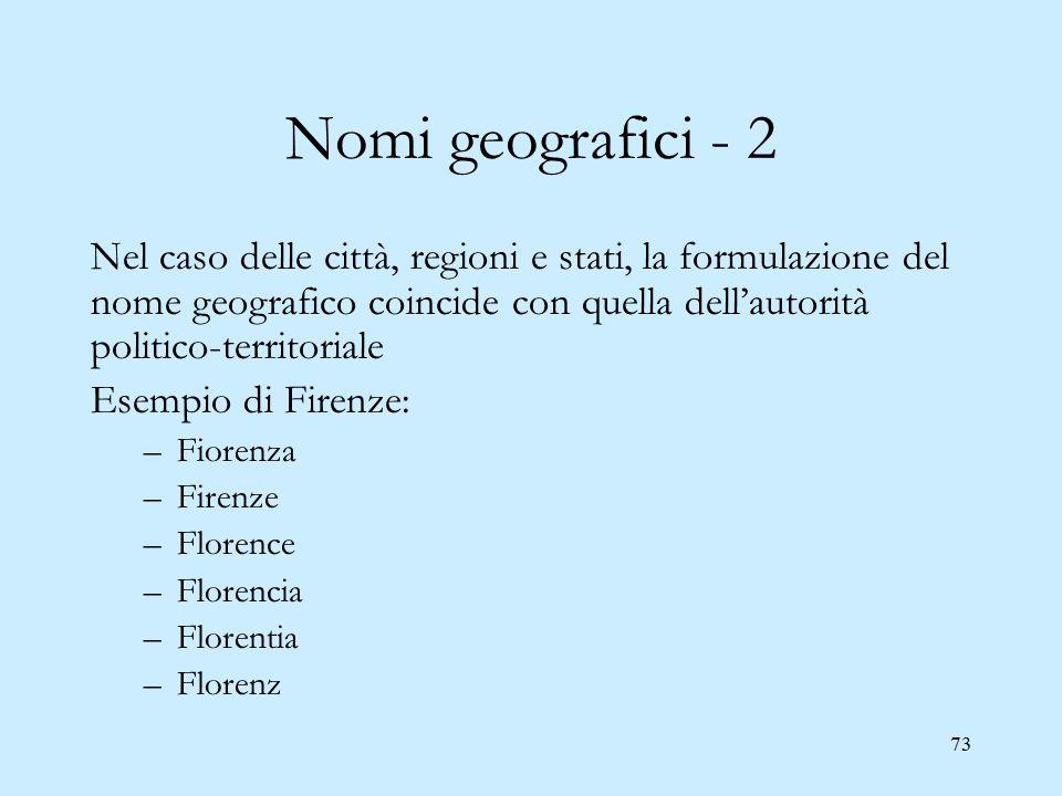 73 Nomi geografici - 2 Nel caso delle città, regioni e stati, la formulazione del nome geografico coincide con quella dell'autorità politico-territori