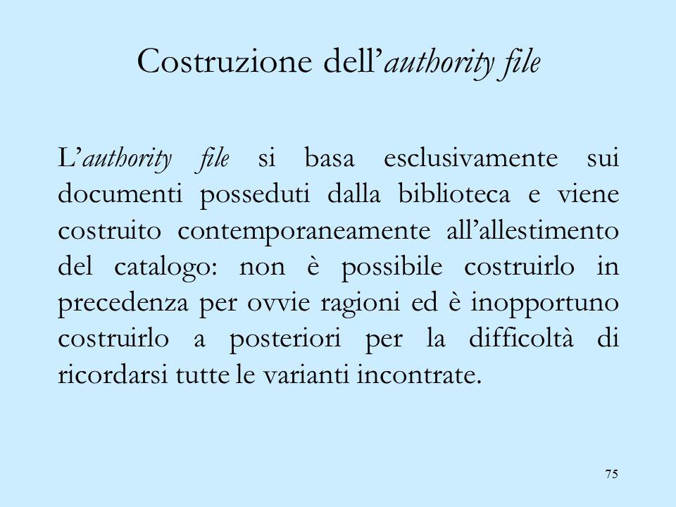 75 Costruzione dell'authority file L'authority file si basa esclusivamente sui documenti posseduti dalla biblioteca e viene costruito contemporaneamen
