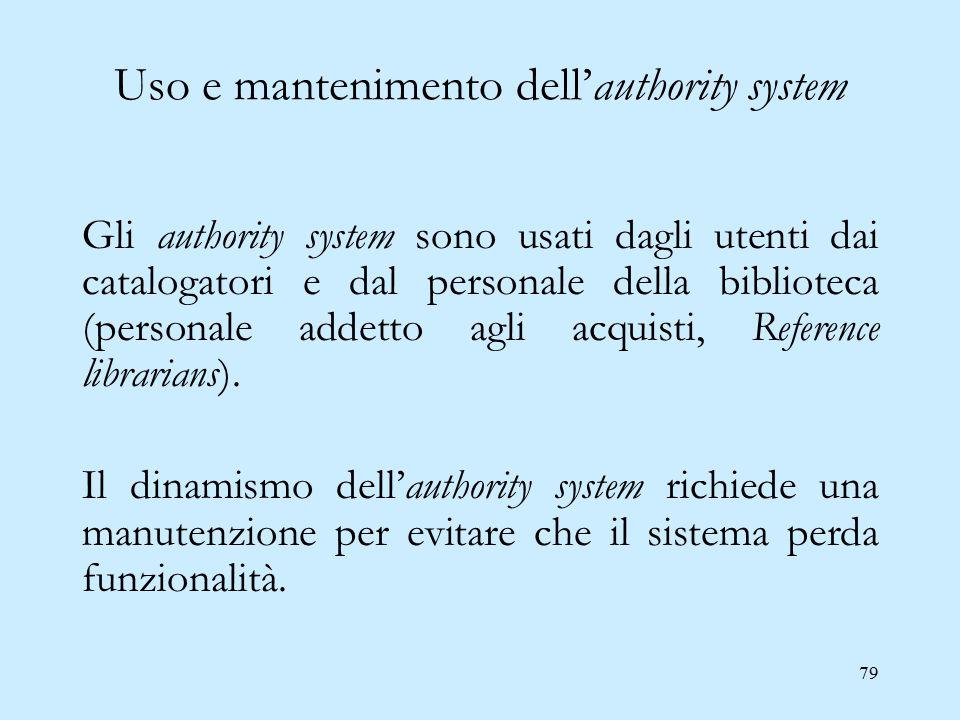 79 Uso e mantenimento dell'authority system Gli authority system sono usati dagli utenti dai catalogatori e dal personale della biblioteca (personale