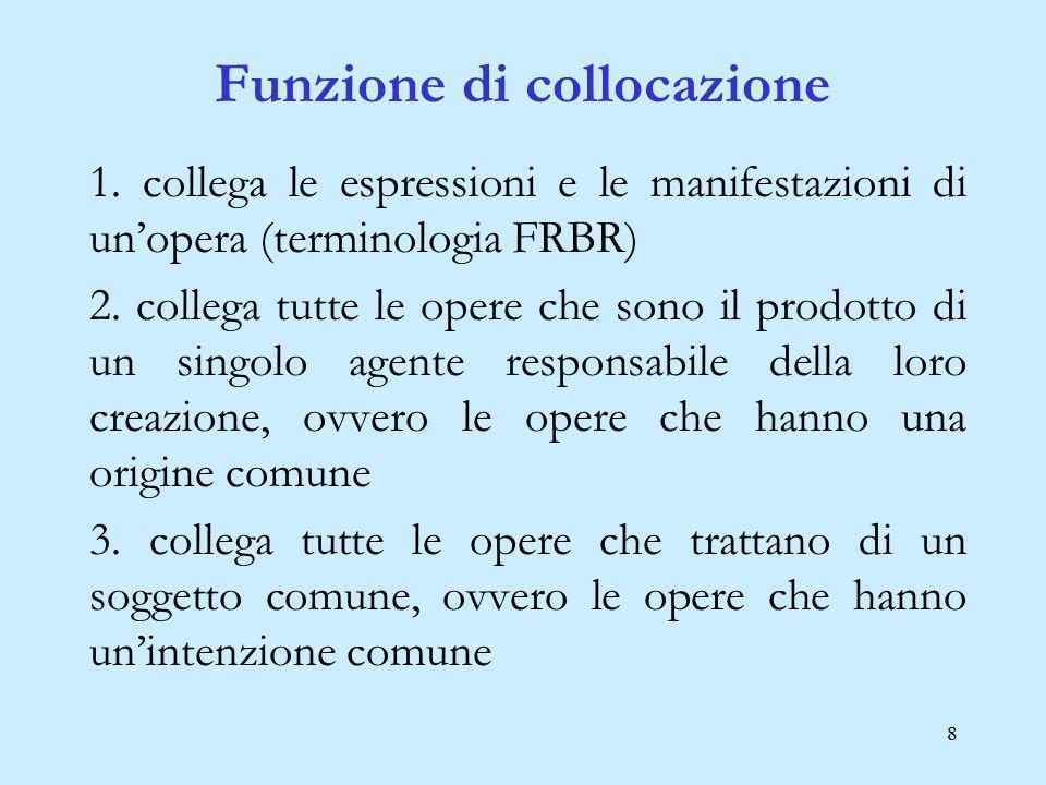 8 Funzione di collocazione 1. collega le espressioni e le manifestazioni di un'opera (terminologia FRBR) 2. collega tutte le opere che sono il prodott