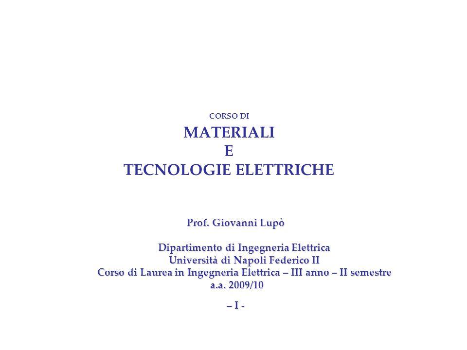 CORSO DI MATERIALI E TECNOLOGIE ELETTRICHE Prof.