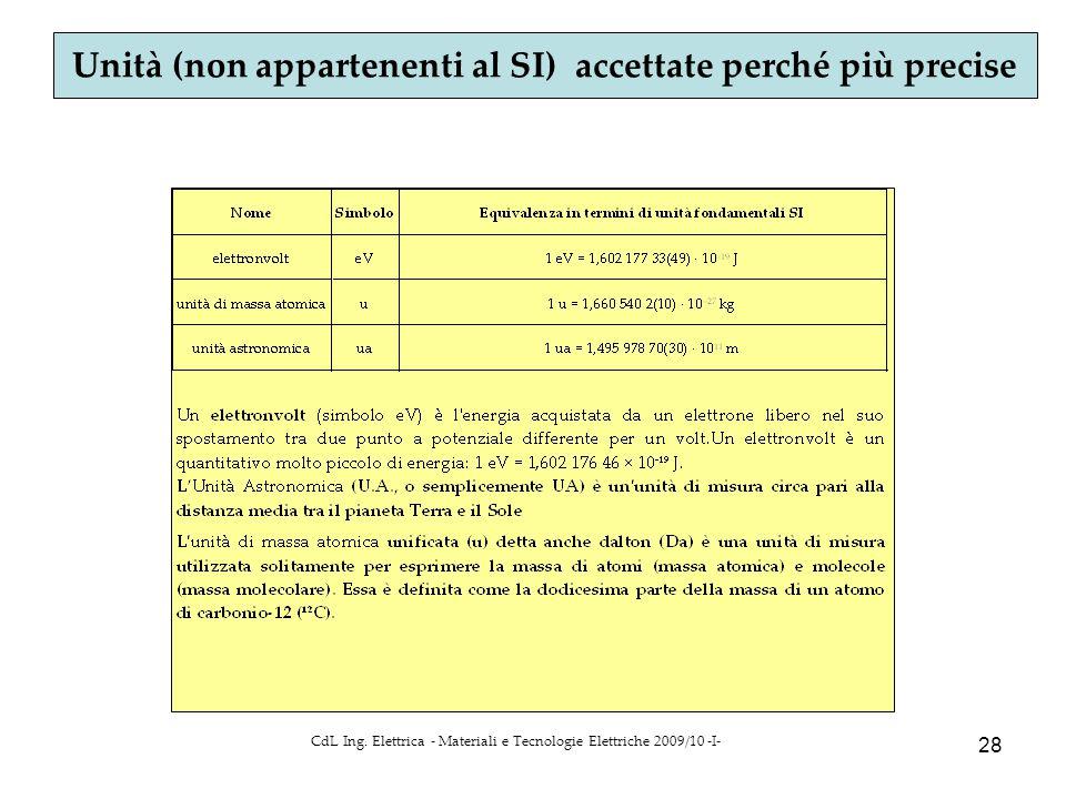 CdL Ing. Elettrica - Materiali e Tecnologie Elettriche 2009/10 -I- 28 Unità (non appartenenti al SI) accettate perché più precise
