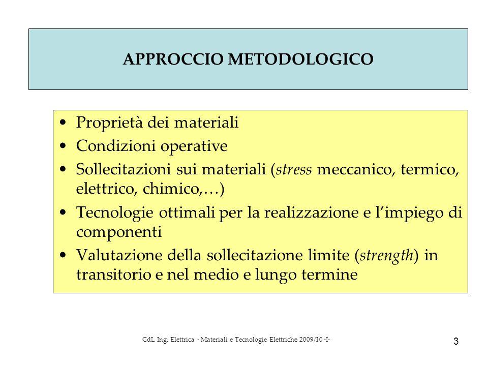 CdL Ing. Elettrica - Materiali e Tecnologie Elettriche 2009/10 -I- 3 Proprietà dei materiali Condizioni operative Sollecitazioni sui materiali (stress