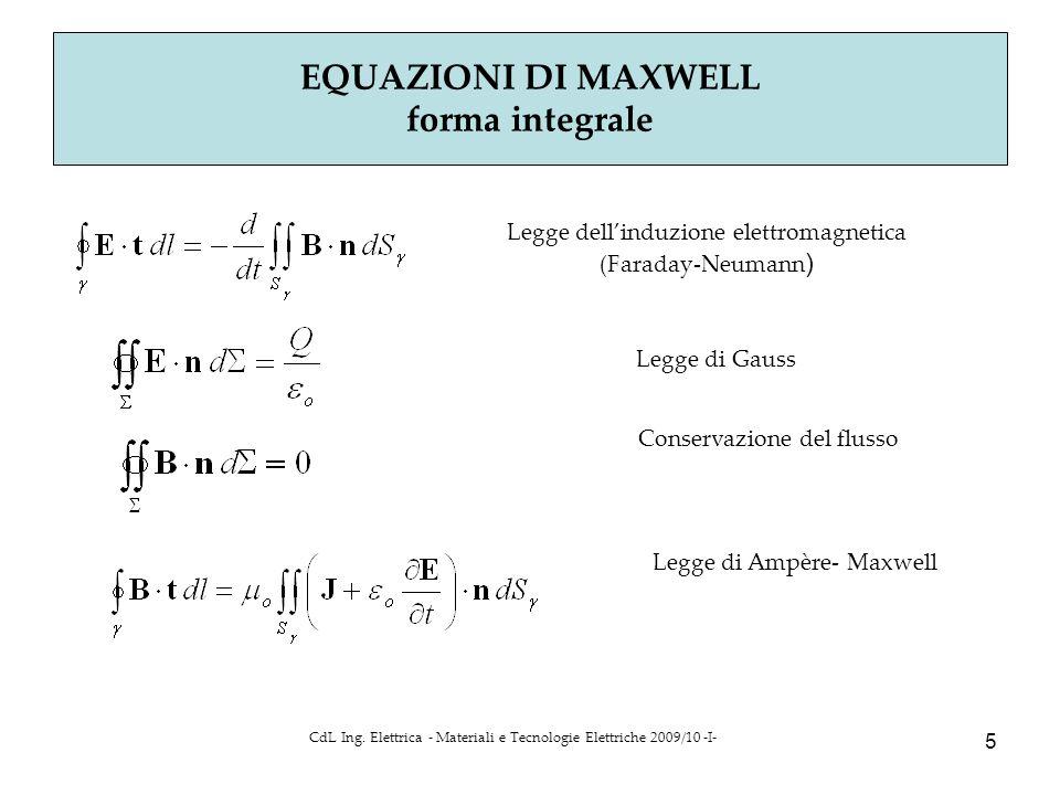 CdL Ing. Elettrica - Materiali e Tecnologie Elettriche 2009/10 -I- 5 EQUAZIONI DI MAXWELL forma integrale Legge dell'induzione elettromagnetica (Farad
