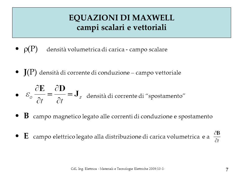 CdL Ing. Elettrica - Materiali e Tecnologie Elettriche 2009/10 -I- 7  (P) densità volumetrica di carica - campo scalare J(P) densità di corrente di c