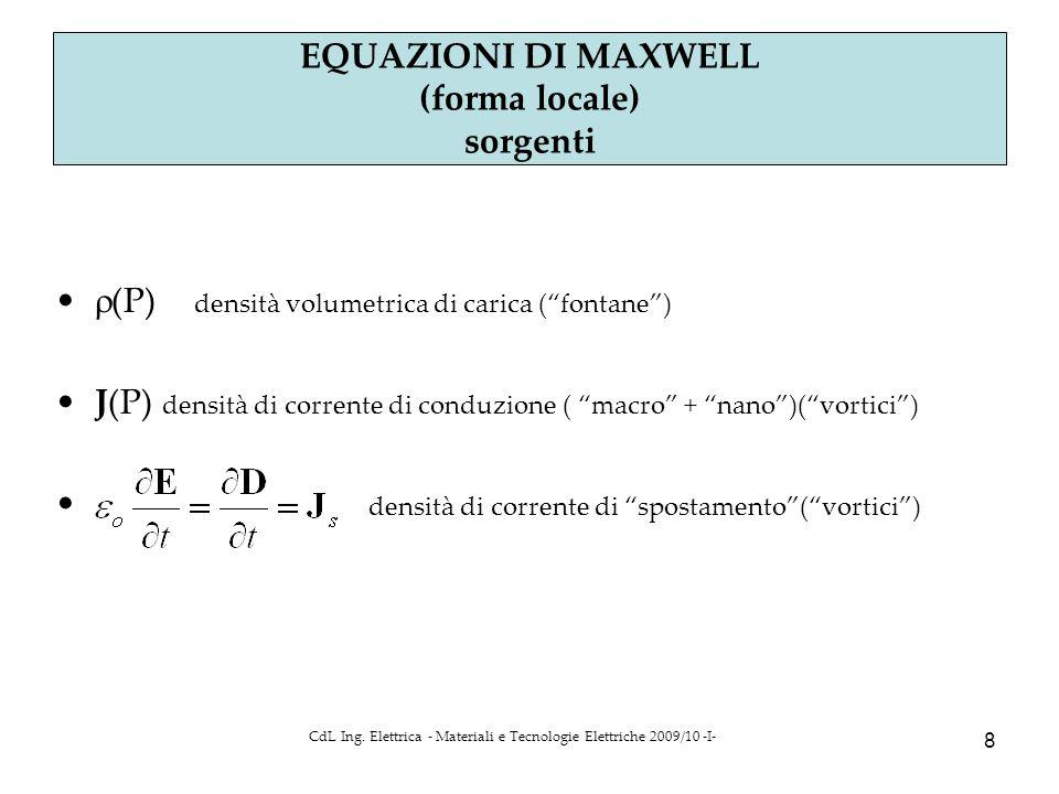 CdL Ing. Elettrica - Materiali e Tecnologie Elettriche 2009/10 -I- 8 Parte 4 a EQUAZIONI DI MAXWELL (forma locale) sorgenti  (P) densità volumetrica