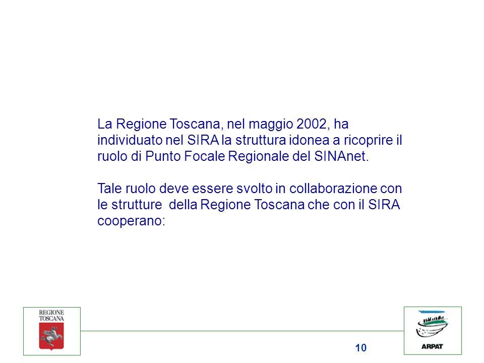 10 La Regione Toscana, nel maggio 2002, ha individuato nel SIRA la struttura idonea a ricoprire il ruolo di Punto Focale Regionale del SINAnet. Tale r