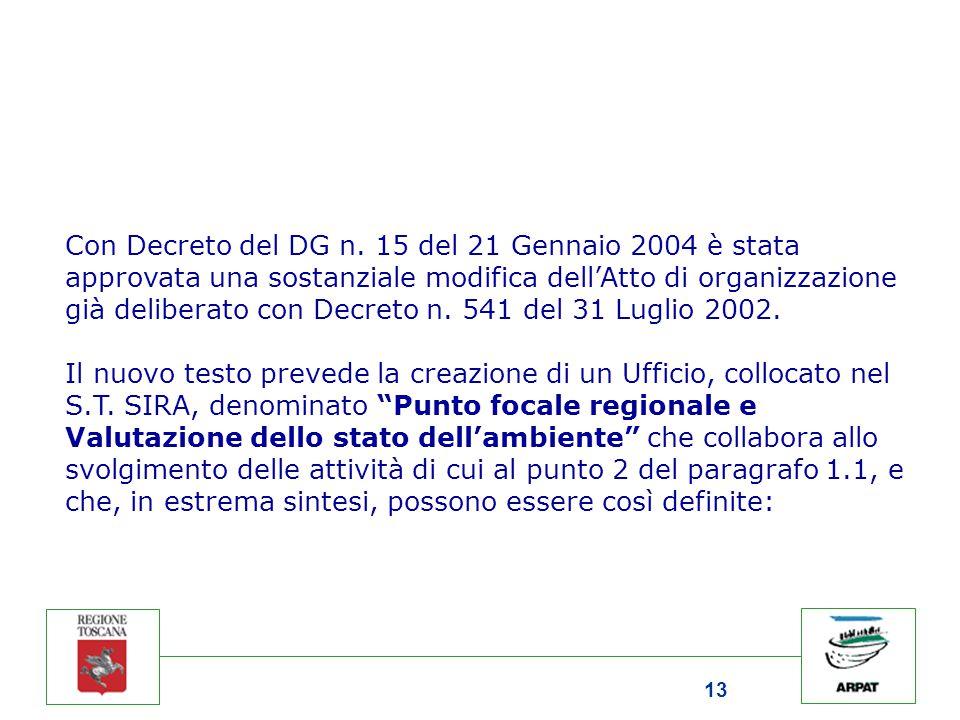 13 Con Decreto del DG n. 15 del 21 Gennaio 2004 è stata approvata una sostanziale modifica dell'Atto di organizzazione già deliberato con Decreto n. 5