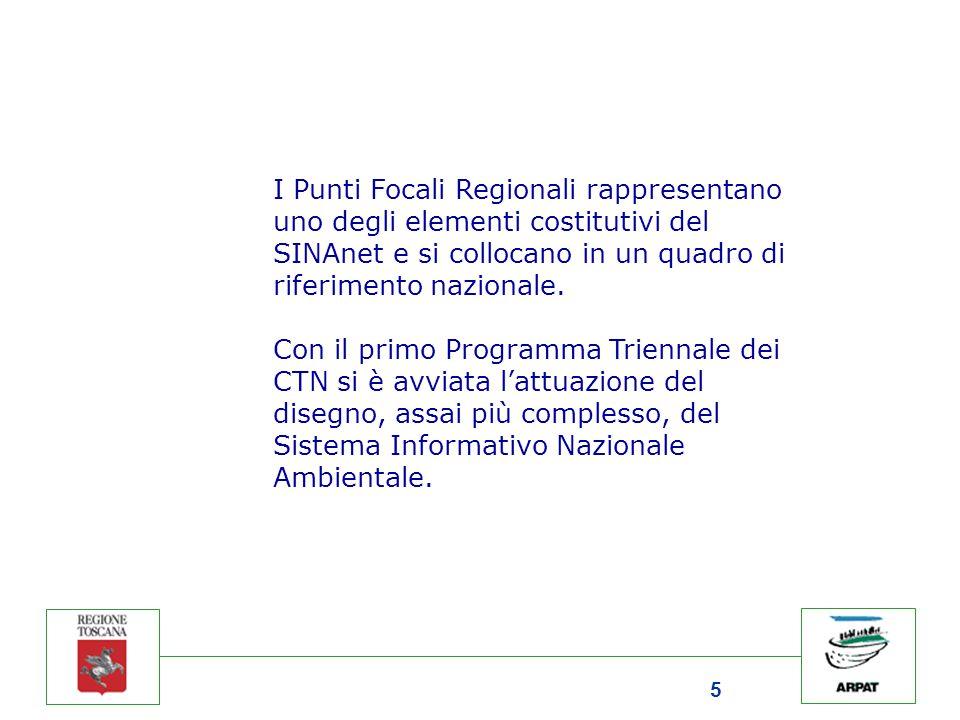 5 I Punti Focali Regionali rappresentano uno degli elementi costitutivi del SINAnet e si collocano in un quadro di riferimento nazionale. Con il primo