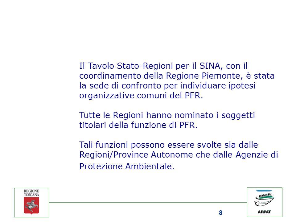 8 Il Tavolo Stato-Regioni per il SINA, con il coordinamento della Regione Piemonte, è stata la sede di confronto per individuare ipotesi organizzative comuni del PFR.