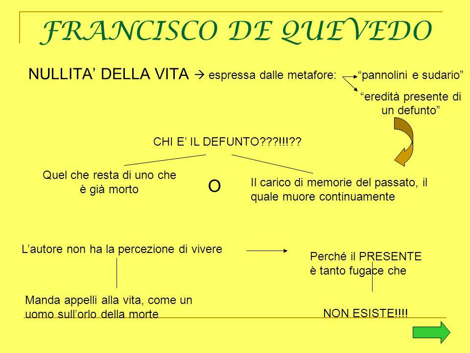 """FRANCISCO DE QUEVEDO NULLITA' DELLA VITA  espressa dalle metafore: """"pannolini e sudario"""" """"eredità presente di un defunto"""" CHI E' IL DEFUNTO???!!!?? Q"""