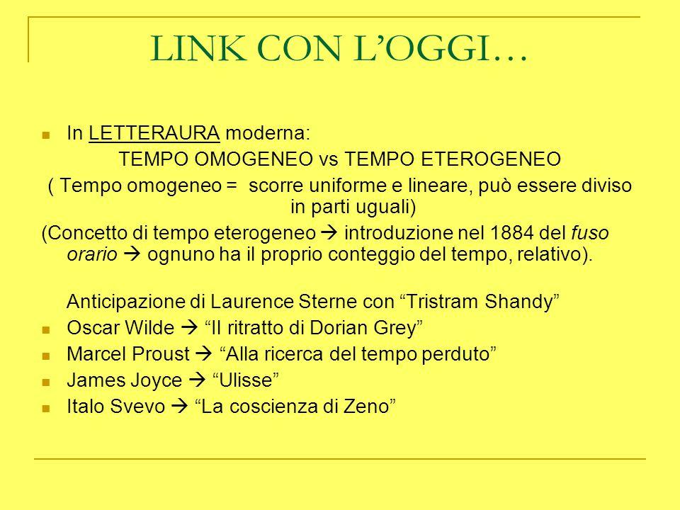 LINK CON L'OGGI… In LETTERAURA moderna: TEMPO OMOGENEO vs TEMPO ETEROGENEO ( Tempo omogeneo = scorre uniforme e lineare, può essere diviso in parti ug
