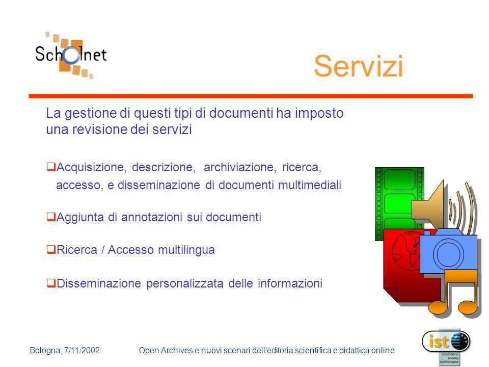 Bologna, 7/11/2002Open Archives e nuovi scenari dell'editoria scientifica e didattica online Servizi La gestione di questi tipi di documenti ha impost