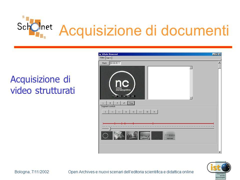 Bologna, 7/11/2002Open Archives e nuovi scenari dell'editoria scientifica e didattica online Acquisizione di documenti Acquisizione di video struttura