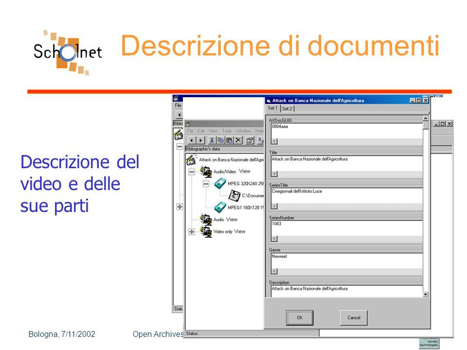 Bologna, 7/11/2002Open Archives e nuovi scenari dell'editoria scientifica e didattica online Descrizione di documenti Descrizione del video e delle su
