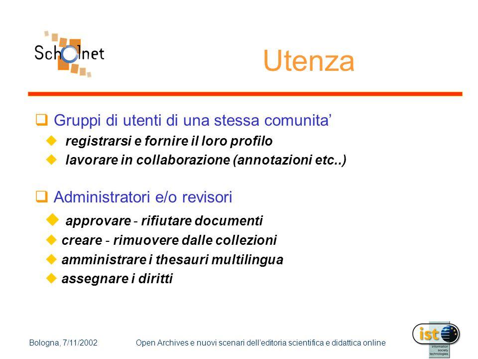 Bologna, 7/11/2002Open Archives e nuovi scenari dell'editoria scientifica e didattica online Utenza  Gruppi di utenti di una stessa comunita'  regis