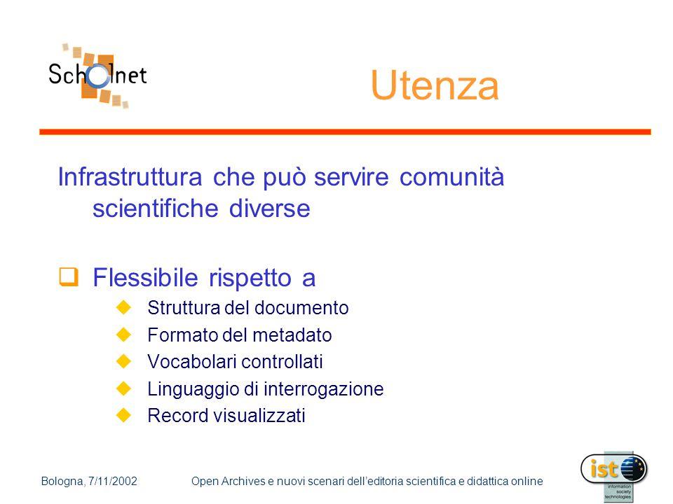 Bologna, 7/11/2002Open Archives e nuovi scenari dell'editoria scientifica e didattica online Infrastruttura che può servire comunità scientifiche dive