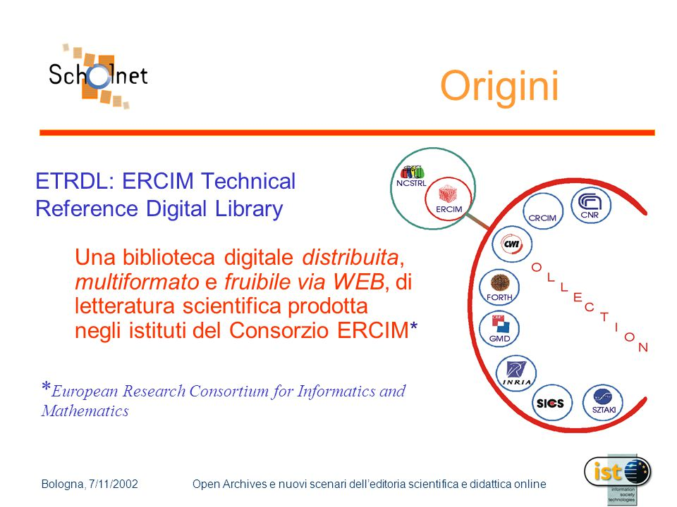 Bologna, 7/11/2002Open Archives e nuovi scenari dell'editoria scientifica e didattica online Origini ETRDL: ERCIM Technical Reference Digital Library