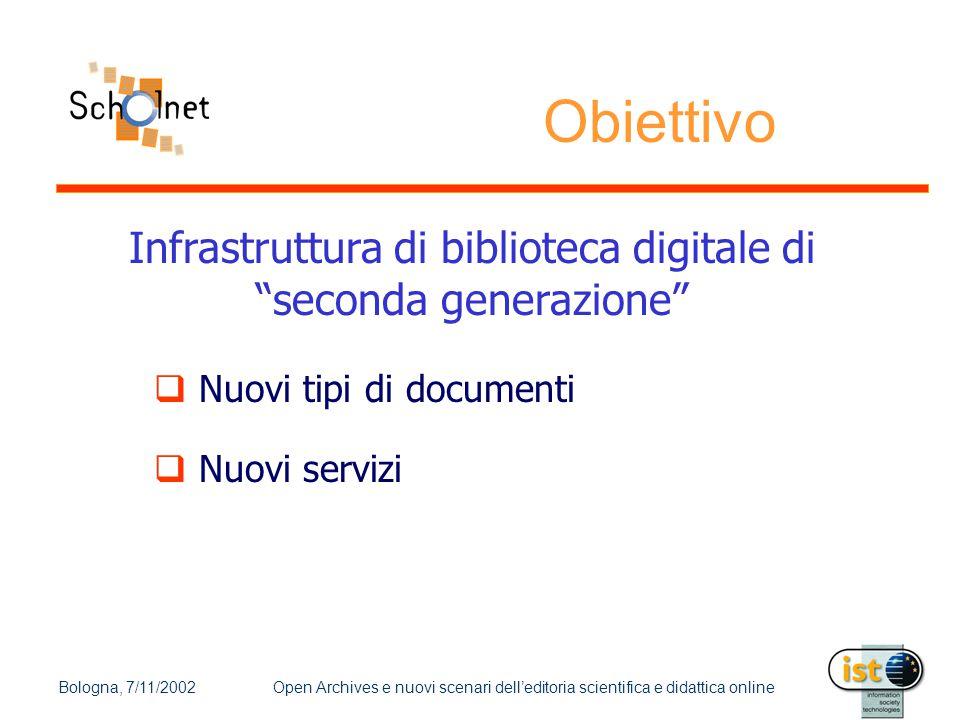 """Bologna, 7/11/2002Open Archives e nuovi scenari dell'editoria scientifica e didattica online Obiettivo Infrastruttura di biblioteca digitale di """"secon"""