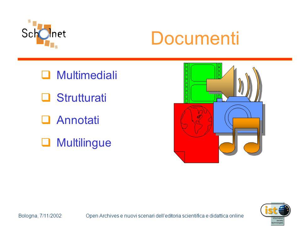 Bologna, 7/11/2002Open Archives e nuovi scenari dell'editoria scientifica e didattica online Architettura (cont.)  Configurabile  Servers  Instanze di servizi  Aperta  si possono aggiungere altri servizi