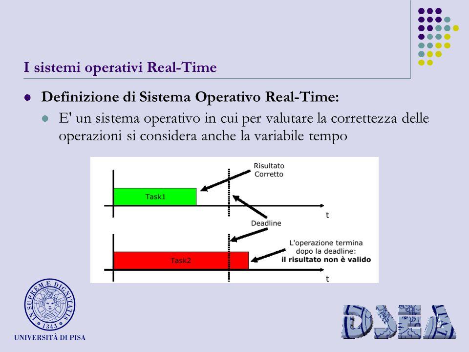 I sistemi operativi Real-Time Definizione di Sistema Operativo Real-Time: E un sistema operativo in cui per valutare la correttezza delle operazioni si considera anche la variabile tempo