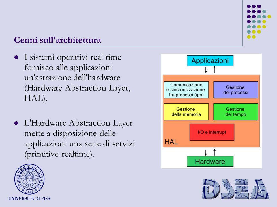 Cenni sull architettura I sistemi operativi real time fornisco alle applicazioni un astrazione dell hardware (Hardware Abstraction Layer, HAL).