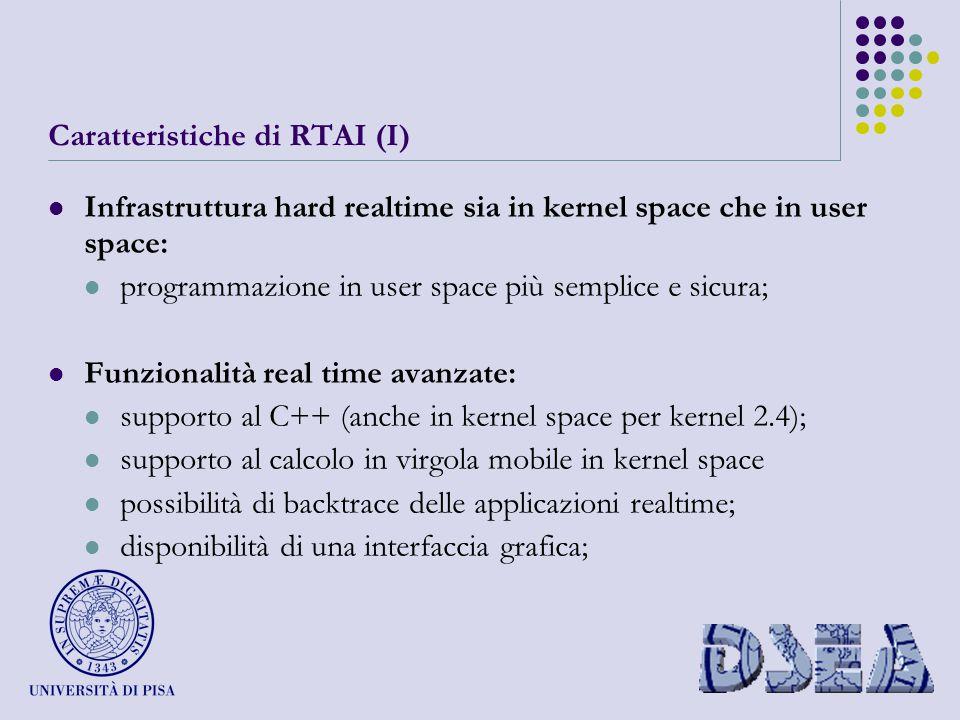 Caratteristiche di RTAI (I) Infrastruttura hard realtime sia in kernel space che in user space: programmazione in user space più semplice e sicura; Funzionalità real time avanzate: supporto al C++ (anche in kernel space per kernel 2.4); supporto al calcolo in virgola mobile in kernel space possibilità di backtrace delle applicazioni realtime; disponibilità di una interfaccia grafica;