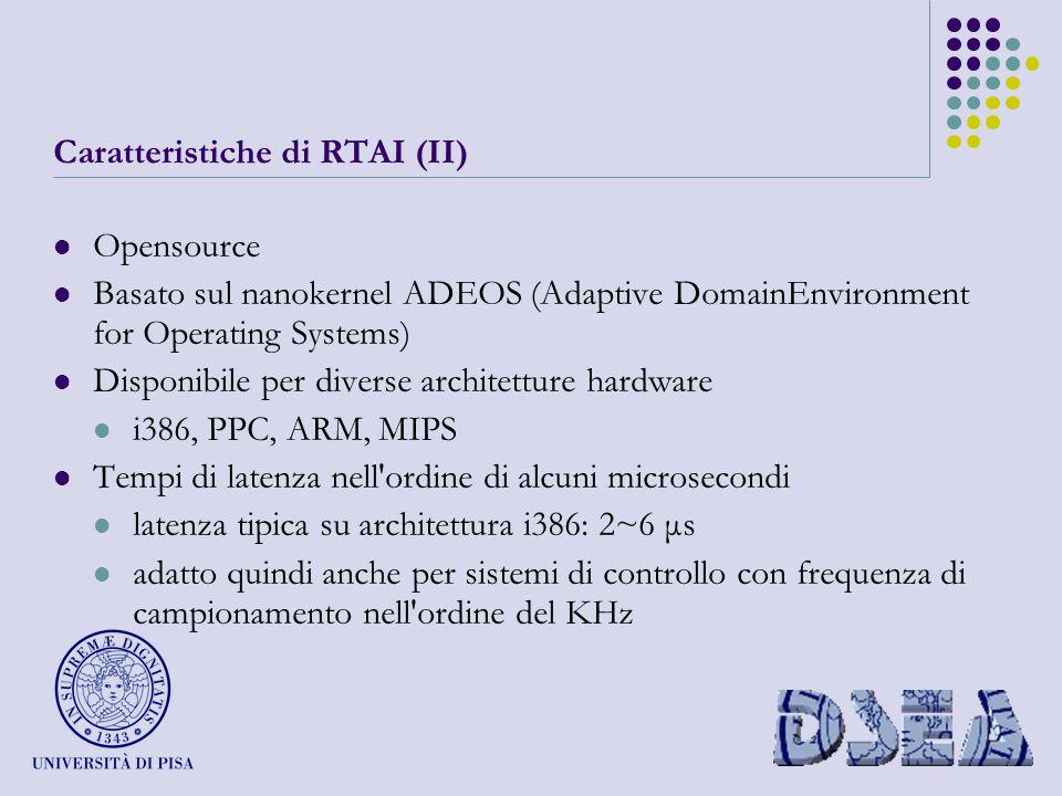 Caratteristiche di RTAI (II) Opensource Basato sul nanokernel ADEOS (Adaptive DomainEnvironment for Operating Systems) Disponibile per diverse architetture hardware i386, PPC, ARM, MIPS Tempi di latenza nell ordine di alcuni microsecondi latenza tipica su architettura i386: 2~6 μs adatto quindi anche per sistemi di controllo con frequenza di campionamento nell ordine del KHz