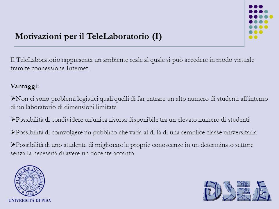 Motivazioni per il TeleLaboratorio (I) Il TeleLaboratorio rappresenta un ambiente reale al quale si può accedere in modo virtuale tramite connessione Internet.