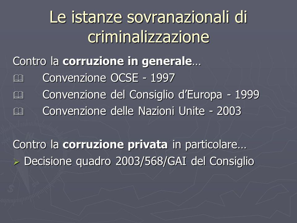 Le istanze sovranazionali di criminalizzazione Contro la corruzione in generale…  Convenzione OCSE - 1997  Convenzione del Consiglio d'Europa - 1999  Convenzione delle Nazioni Unite - 2003 Contro la corruzione privata in particolare…  Decisione quadro 2003/568/GAI del Consiglio